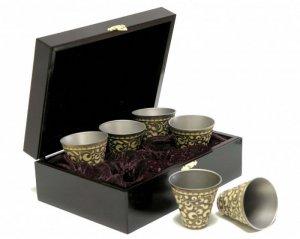 Набор сувенирных стаканчиков из титана в бересте в шкатулке (6 шт.)